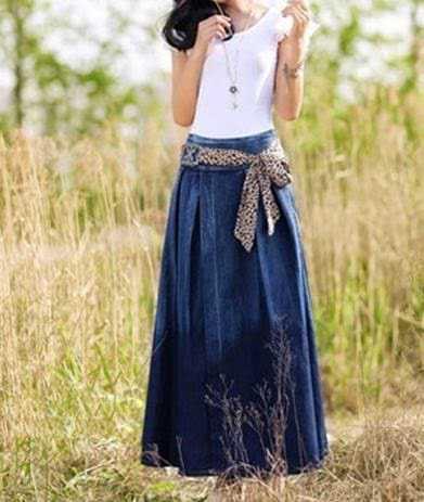 Модные длинные джинсовые юбки