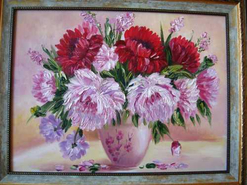Занавески с цветами на холсте